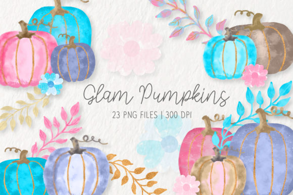 Watercolor Glam Pumpkins Clipart Set Graphic