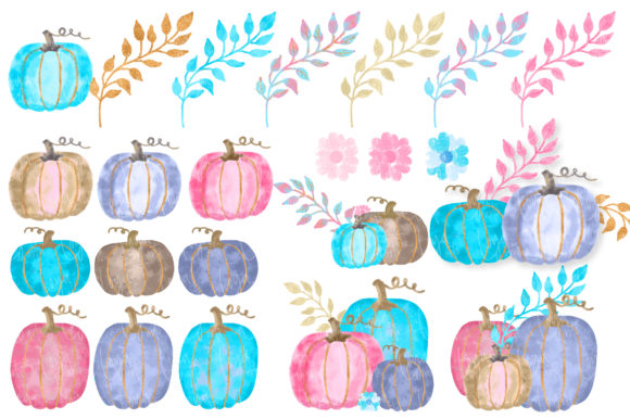 Watercolor Glam Pumpkins Clipart Set Graphic Download