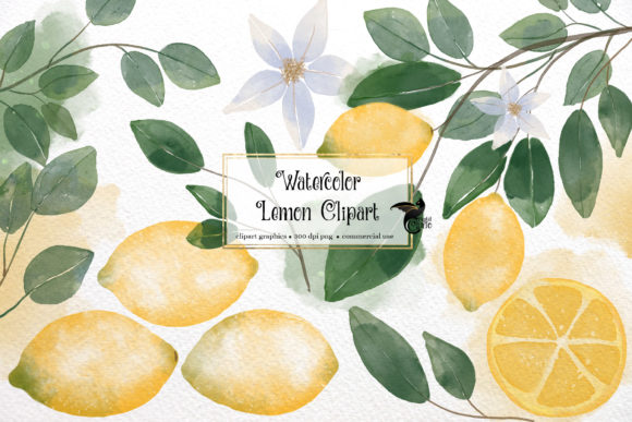 Print on Demand: Watercolor Lemons Clipart Gráfico Illustrations Por Digital Curio