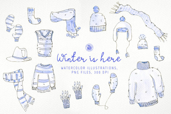 Print on Demand: Watercolor Clipart - Winter is Here Graphic Illustrations By webvilla