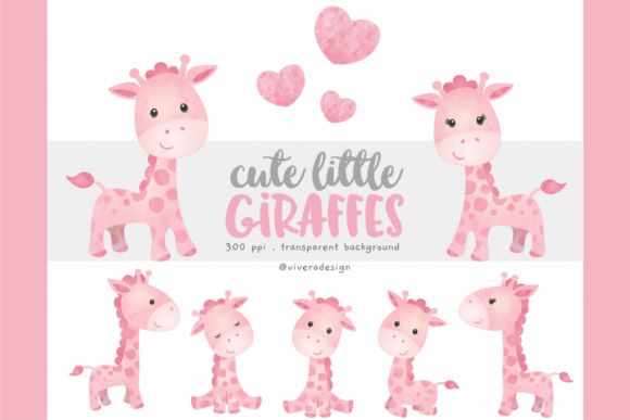 Print on Demand: Watercolour Giraffes in Pink Graphic Illustrations By vivera