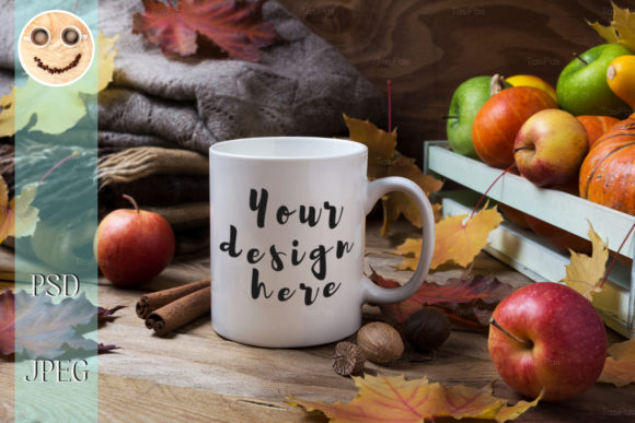 Print on Demand: White Coffee Mug Mockup with Fall Graphic Product Mockups By TasiPas