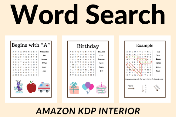 Word Search Pages for Amazon KDP Graphic KDP Interiors By KDP DESIGNER