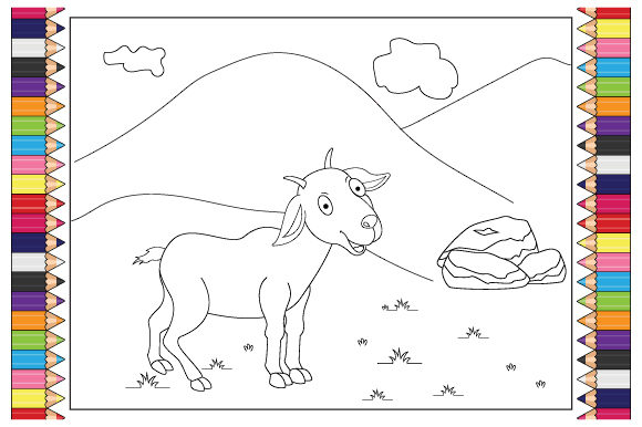 Print on Demand: Coloring Goat for Kids Graphic Illustrations By curutdesign