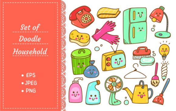 Household Equipment in Kawaii Doodle Graphic Illustrations By Big Barn Doodles