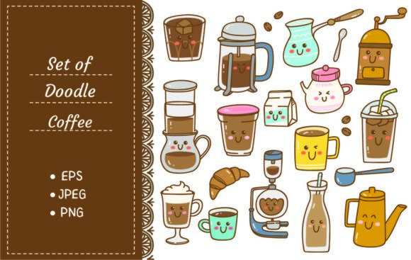 Set of Coffee Equipment in Kawaii Doodle Graphic Illustrations By Big Barn Doodles
