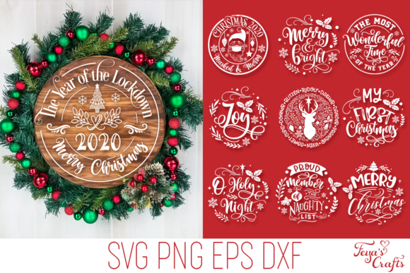 Print on Demand: 10 Round Christmas Ornaments Pack Grafik Plotterdateien von Anastasia Feya
