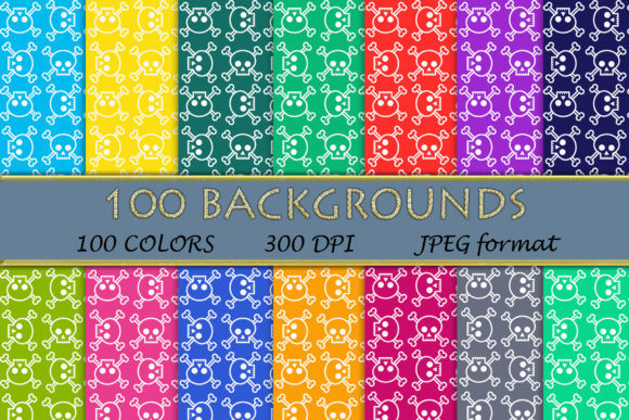 100 Skull with Bones Pattern Digital Pap Graphic Backgrounds By SweetDesign
