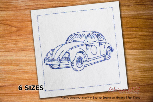 1963 Volkswagen Beetle Redwork Design Transportation Embroidery Design By Redwork101