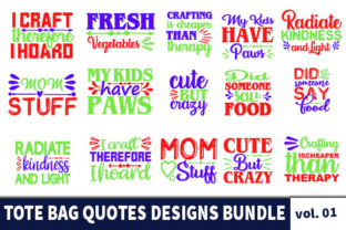 Print on Demand: 20 Tote Bag Quotes Designs Bundle Graphic Print Templates By Star_Graphics