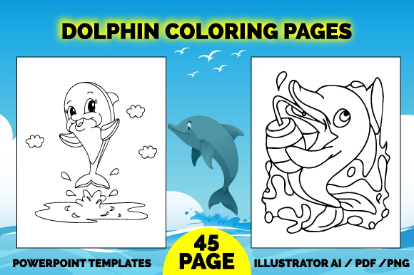 45 Dolphin Coloring Pages for Kids Graphic