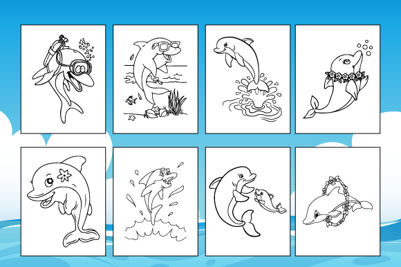 45 Dolphin Coloring Pages for Kids Graphic Download