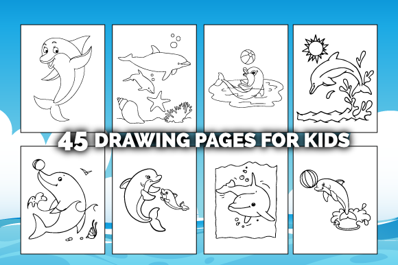 45 Dolphin Coloring Pages for Kids Graphic Item