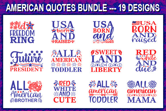 Print on Demand: 4th of July Quote Designs Bundle Graphic Print Templates By store_svg