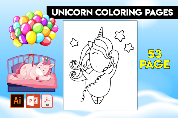 Print on Demand: 50+ Unicorn Coloring Pages for Kids Graphic Coloring Pages & Books Kids By MK DESIGN