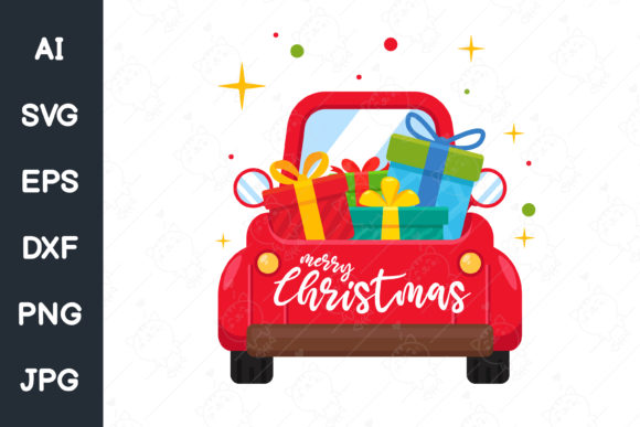 A Red Car Carrying a Christmas Tree Graphic Illustrations By CRStocker