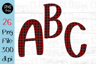 Print on Demand: A-Z Alphabet Christmas Red Buffalo Plaid Graphic Crafts By CSDesign
