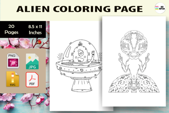Print on Demand: Alien Coloring Page for Kids-KDP Graphic Coloring Pages & Books Kids By Sei Ripan