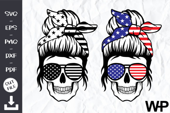 American Flag Skull Svg Graphic Print Templates By wanchana365