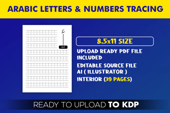 Arabic Letters, Numbers Tracing Workbook Graphic Download