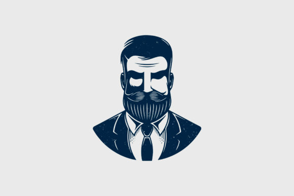 Bearded Hipster Head Logo Design Graphic Logos By vectorwithin