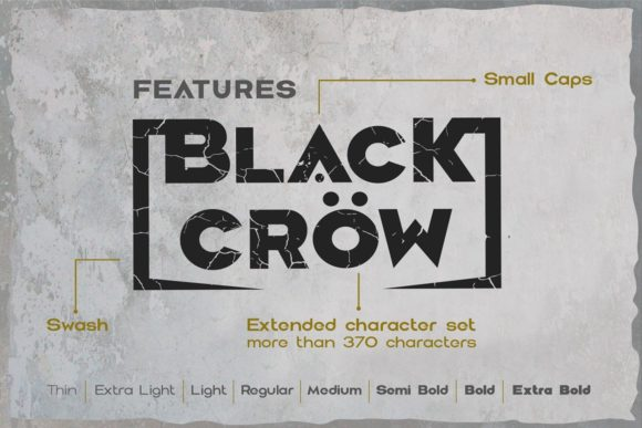 Print on Demand: Black Crow Display Font By dsfractal