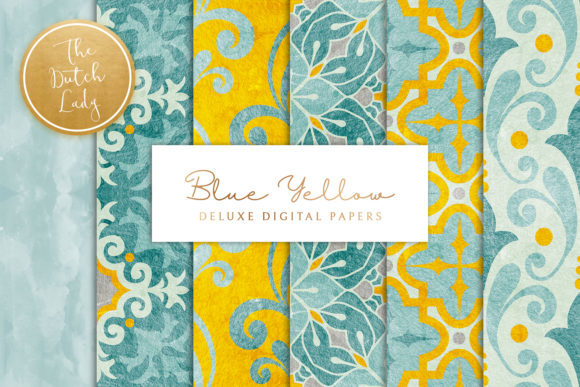 Print on Demand: Blue Yellow Ornamental Patterns Graphic Patterns By daphnepopuliers