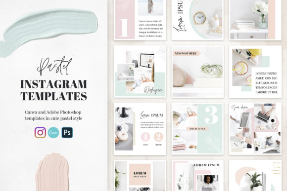 Canva Instagram Templates Pastel Graphic Graphic Templates By switzershop