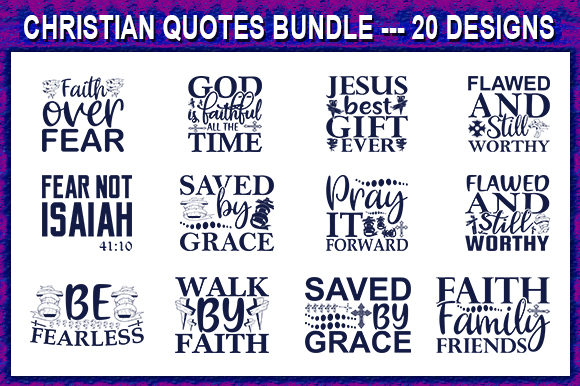 Print on Demand: Christian Quote Designs Bundle Graphic Print Templates By store_svg