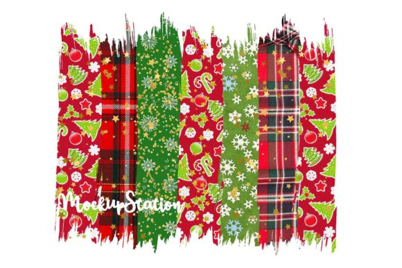 Christmas Brush Stroke Background Bundle Graphic Item