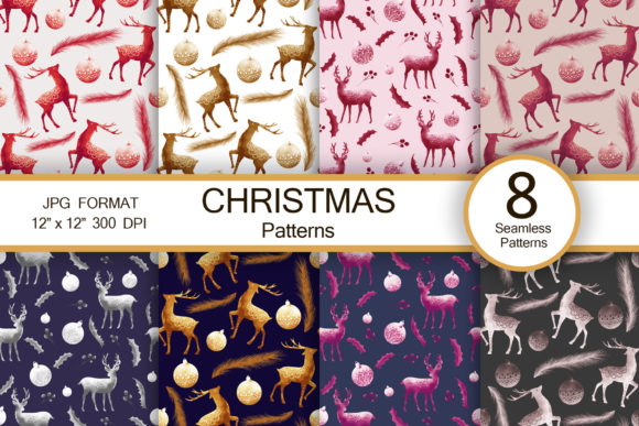 Christmas Vintage Abstract Patterns Graphic Patterns By FolkStyleStudio