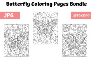 Print on Demand: Coloring Pages Butterfly Bundle Graphic Coloring Pages & Books Kids By MyBeautifulFiles