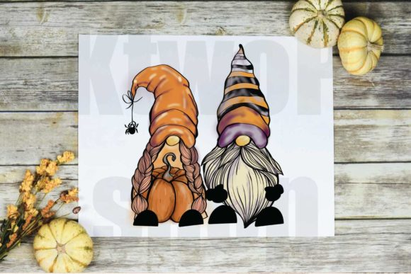 Print on Demand: Couple of Gnome Pumpkin Sublimation Graphic Crafts By KtwoP