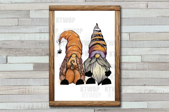 Couple of Gnome Pumpkin Sublimation Graphic Download