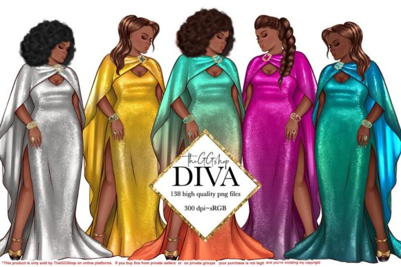 Print on Demand: Curvy Girls Fashion Cliparts Graphic Illustrations By TheGGShop
