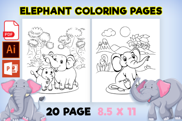Print on Demand: Cute Elephant Coloring Pages for Kids Graphic Coloring Pages & Books Kids By MK DESIGN