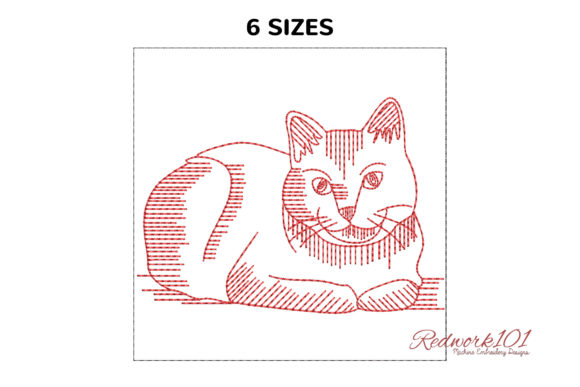 Cute Russian Blue Cat Redwork Cats Embroidery Design By Redwork101