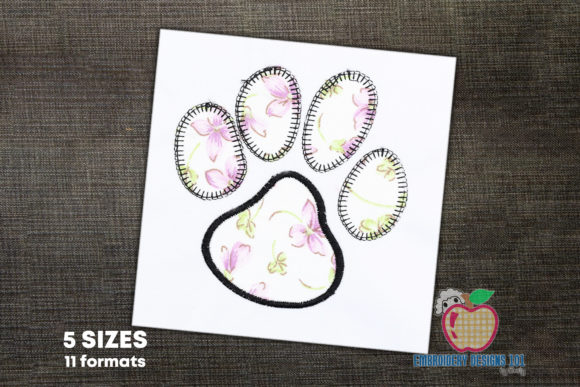 Dog Paw Print Applique Design Dogs Embroidery Design By embroiderydesigns101