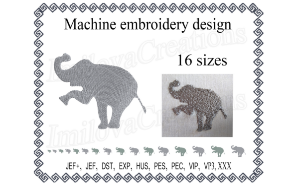 Elephant Silhouette Wild Animals Embroidery Design By ImilovaCreations
