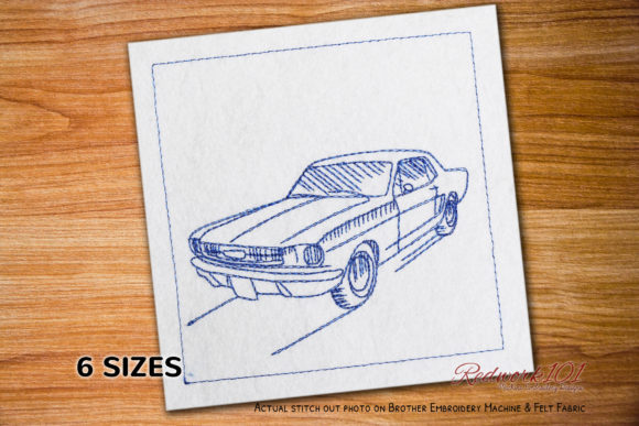 First Ford Mustang Bluework Transportation Embroidery Design By Redwork101