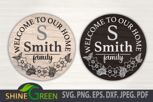 Print on Demand: Floral Family Monogram Home Round Sign Graphic Crafts By ShineGreenArt