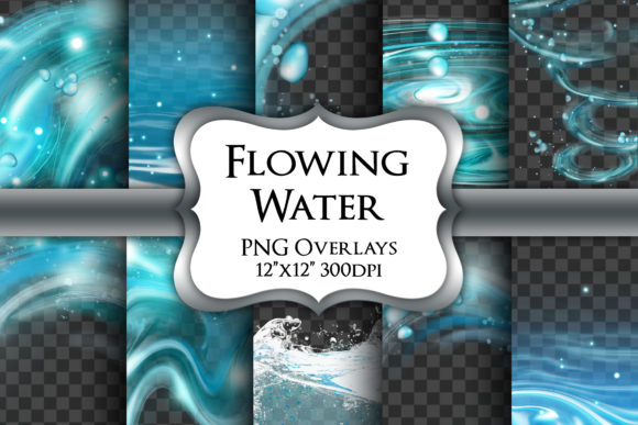 Print on Demand: Flowing Water Overlays Transparent PNG Graphic Illustrations By Party Pixelz