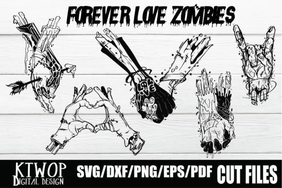 Print on Demand: Forever Love's Zombie Bundle Graphic Crafts By KtwoP