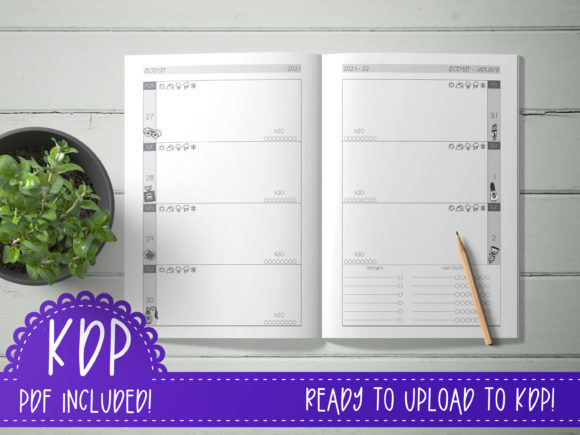 Print on Demand: Glam Weekly Planner 6x9  KDP Ready PDF Graphic KDP Interiors By planfantastic