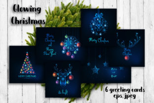 Glowing Christmas Greeting Cards Graphic Print Templates By inkoly.art