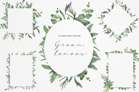 Green Leaves Watercolor Frames Graphic Illustrations By pavlova.j91
