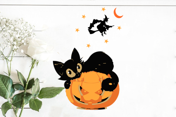 Print on Demand: Halloween Black Cat Lying on Pumpkin Graphic Print Templates By Cricut Market