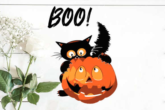 Print on Demand: Halloween Boo Black Cat Graphic Print Templates By Cricut Market
