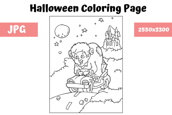 Print on Demand: Halloween Coloring Page - 10 Graphic Coloring Pages & Books Kids By MyBeautifulFiles