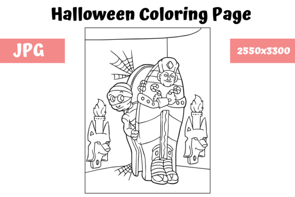 Print on Demand: Halloween Coloring Page - 4 Graphic Coloring Pages & Books Kids By MyBeautifulFiles